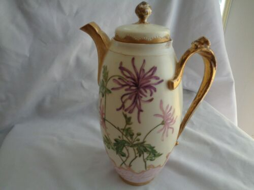 Antique Limoges France CFH GDM Hand Painted Chocolate/Coffee Pot