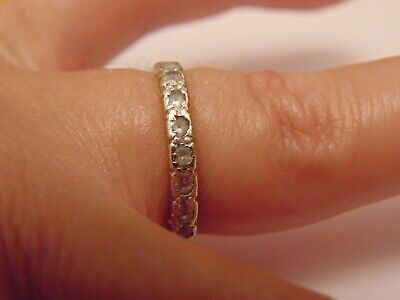 Vintage Solid 9ct White Gold CZ Fully Eternity Band Ring Hallmarked SIZE M 2.3g