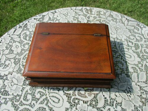 Nice Antique Wood Hinged Top Desk Lap Box