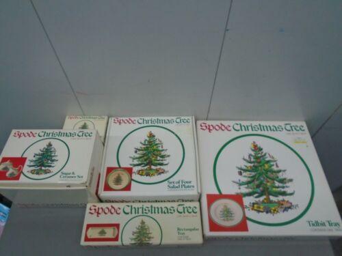 Spode Christmas Tree Salad Plates, sugar & cream set ++++ super bundle (read)