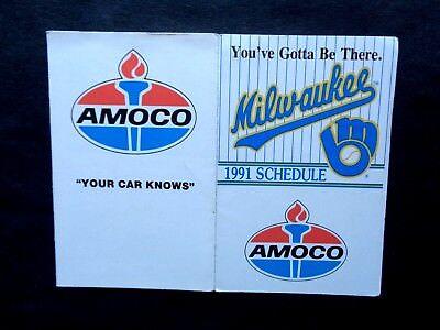 1991 Milwaukee WI Brewers Baseball Schedule, Amoco
