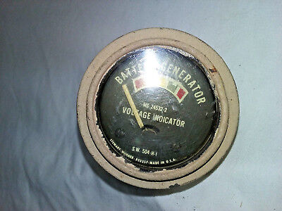 1950's Military Jeep Amp Gauge Stewart Warner Battery Generator Voltage -NRA395