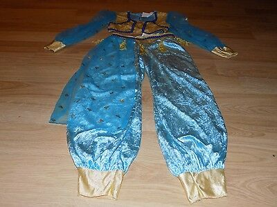 Size Medium 7-8 Disguise Princess Jasmine Genie Costume Pants Top Aqua Gold EUC ()