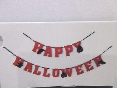 HAPPY HALLOWEEN felt Orange Black Scary Pumpkin Banner Garland Decor