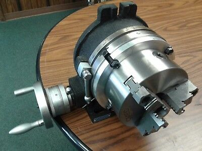 8 Horizontal Vertical Rotary Table W. Adapter 6 3-jaw Chuck In-tsl8-c6