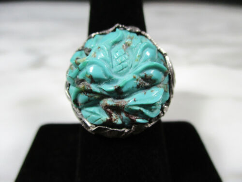 ANTIQUE CHINESE SILVER LARGE CARVED TURQUOISE ADJUSTABLE RING SIZE 8 BIRDS FLORA