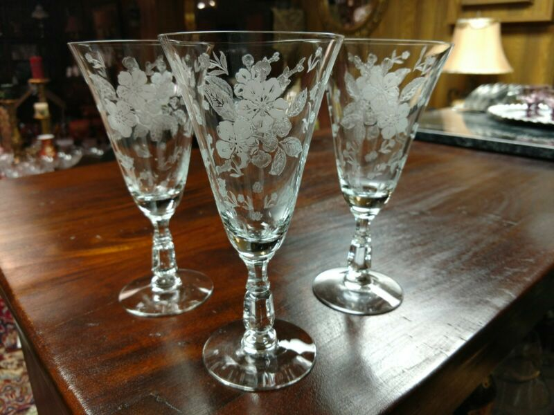 LANGUAGE OF FLOWERS etching, WATER GOBLETS, Set of 3, PERFECT & FREE SHIPPING!