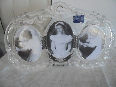 Mikasa Princess Crystal Triple Oval Wedding 8 x 13 Frosted Glass Picture -