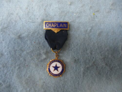 WWI American Legion Medal Chaplain Bar Auxiliary Pin Back Marked WW1