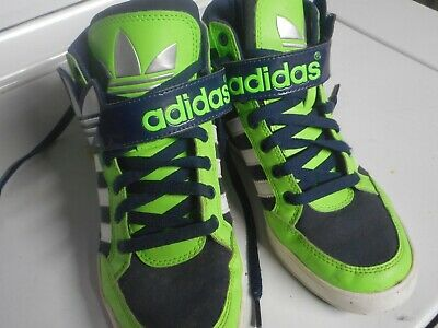 Unique Boys Shoes (Boys size 5.5 Adidas Basketball Shoes Green, Blue and White Unique and in)