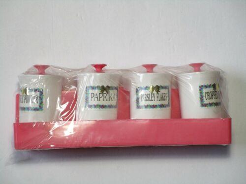 Storage Container Pink White Retro Kitchen Spice Rack Holder Dollhouse NWT