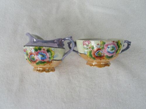 Vintage+ Multi- Color Hand Painted Floral [CREAMER&SUGAR SET ] ~ Made In Japan!!