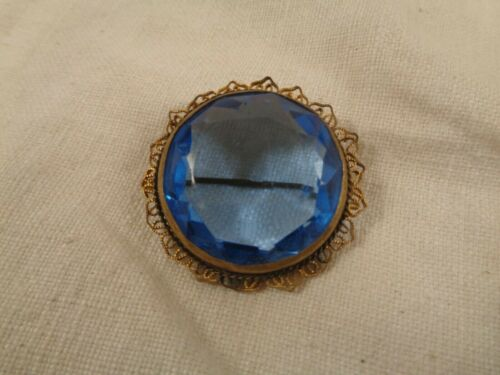 Antique Blue Faceted Czech Glass Filigree Brooch