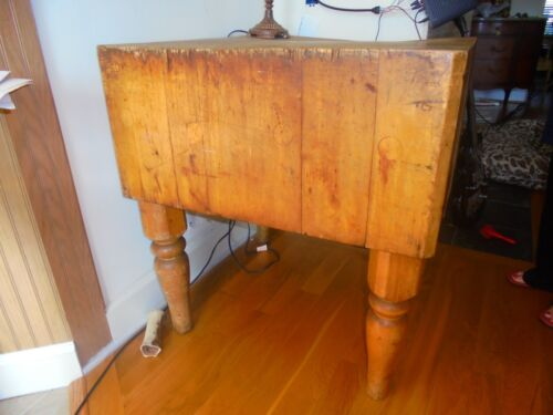 """VINTAGE UNRESTORED BUTCHER BLOCK TABLE ..28"""" SQUARE / 32"""" HIGH / 14 1/2"""" THICK"""