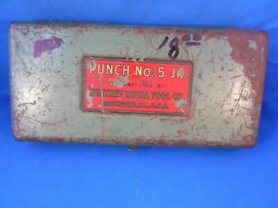 Lky Vintage Whitney Metal Tool Co. Metal Punch No. 5 Junior Tin Case Only