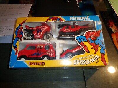 1982 Buddy L Spiderman Superheroes Vehicle Set Van Helicopter Motorcycle & Car