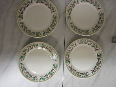 4 Gibson Christmas Salad/Bread Plates Dishes holly berries. 7 1/2