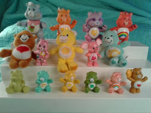 Lot of 15 CARE BEAR Figurines 4 VINTAGE POSABLES 1 VINTAGE PVC Burger King ETC