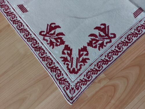 "ANTIQUE Vintage Beautiful Linen Tablecloth Handmade Red Embroidery 25"" Square"