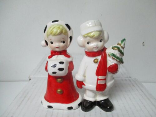 Vintage Ceramic Christmas Figures - Boy & Girl Dressed For Winter w Tree