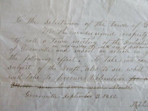 1862 Civil War Volunteer Men from Greenville,Maine (10 men have signed) document
