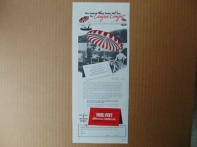 1949 KOOL VENT ALUMINUM Patio UMBRELLA vintage art print ad