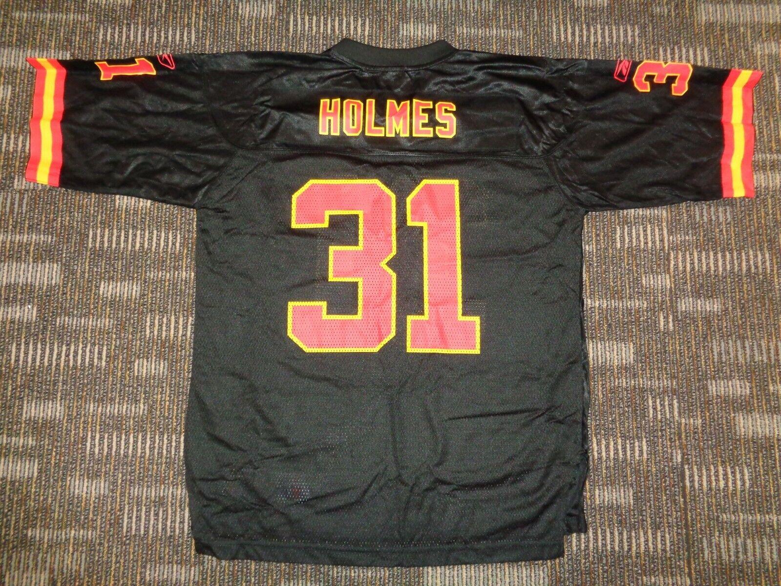 PRIEST HOLMES 31 REEBOK KC KANSAS CITY CHIEFS BLACK NFL GAME FOOTBALL JERSEY LG - $39.99