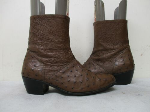 Max, Leather, Brown, Full, Quill, Ostrich, Zip, Ankle, Rare, Cowboy, Boots, Mens, Size, 8, USA