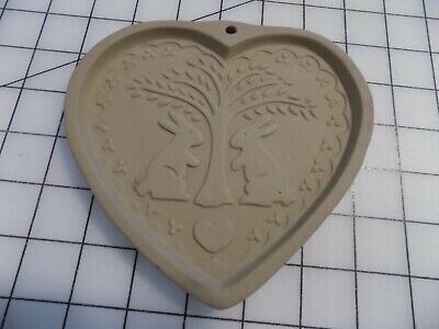 Vintage Brown Bag Cookie Art Mold 1989 Hill Design Heart-Shape Rabbit and Tree