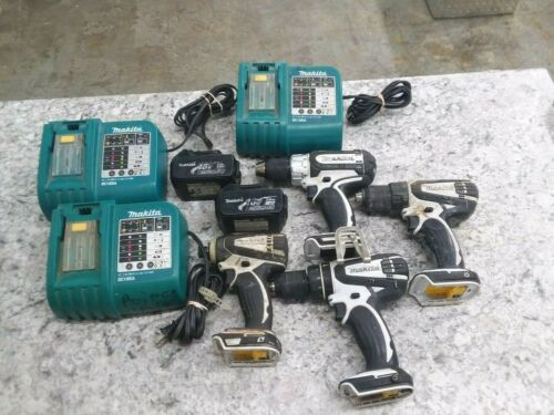 MAKITA LOT OF TOOLS (3) DRILLS (1) IMPACT (3) CHARGERS (2) BATTERIES FREE SHIPP