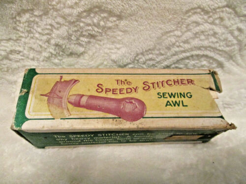 The Speedy Stitcher~Sewing Awl~Original Box~Steward Mfg. Co~Torn Box