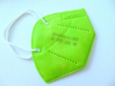 FFP2 Maske 10 x Neon Grün Mundschutz 5 Lagig CE 2163 zertifiziert Erwachsene Neu