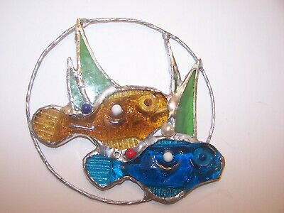 HANDMADE NEW REAL STAINED GLASS FISH & SEA WEEDS