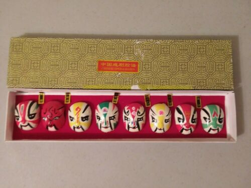 Chinese Miniature Hand Painted Opera Face Masks Collector Set of 8