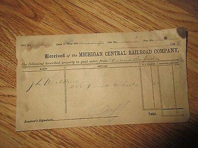Michigan Central Railroad Freight Receipt - 1885