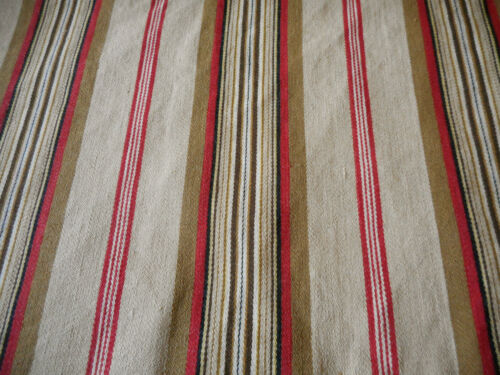 Antique Primitive Americana Red Brown Stripe Farmhouse Cabin Ticking Fabric ~