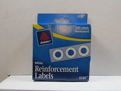 200 Count Avery Self-adhesive Hole Reinforcement Labels 14 Round White 5729