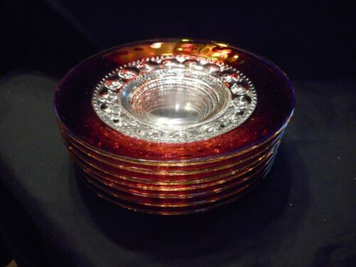 """Kings Crown Thumb Print Set of 7 Plates 8 1/4"""" Ruby Red and Clear"""