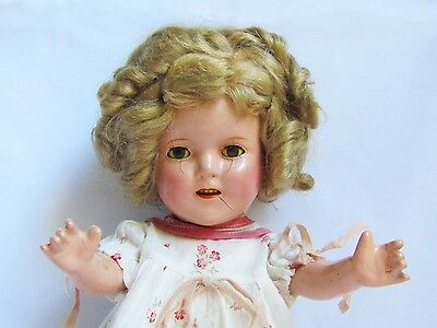 """JUST LOVELY Circa 1930 Vintage Shirley Temple 13"""" Composition Doll."""