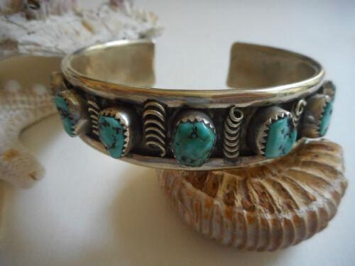 Vintage Southwest Nickel Silver Turquoise Cuff Bracelet  51T3