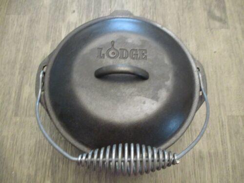 LODGE 10 1/4 8DO USA Cast Iron Dutch Oven Pot With 81C Lid & Handle