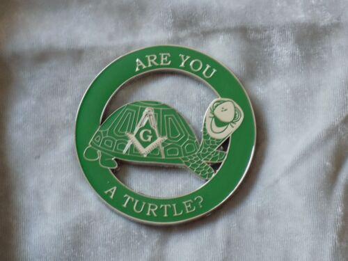 "Masonic 3"" Car Emblem Master Mason Square Compass Turtle Fraternity NEW!"