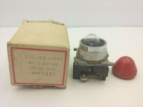 CUTLER HAMMER 10250T-201 INDICATING PILOT LIGHT 120V AC/DC RED PLASTIC LENS NIB