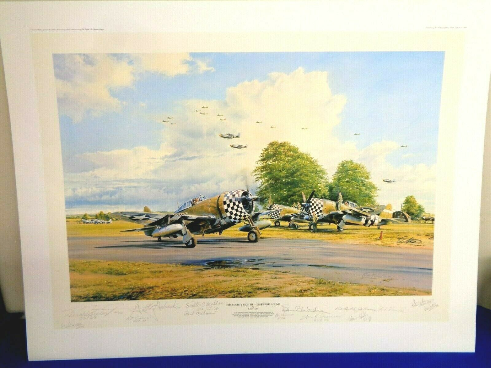 ROBERT TAYLOR PRINT THE MIGHTY EIGHTH OUTWARD BOUND - 14 SIGNATURES W/ COA  - $565.00