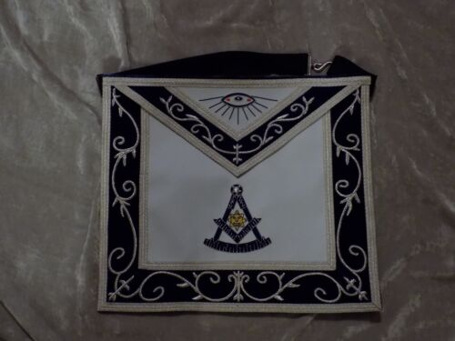 Past Master Masonic Apron Silver & Gold Bullion w/ Square Blue Satin Pocket NEW!