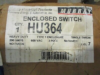Murray Hu364 200 Amp 600 Volt Disconnect- New