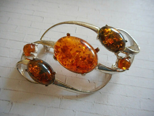 Vintage Sterling Baltic Amber Brooch Pin or Pendant   MN34/1