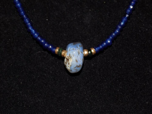Pre-Columbian Chalcedony Pendant Bead with Sapphires, Emerald and Gold Necklace