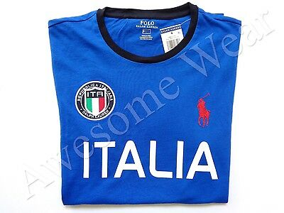 - New Ralph Lauren Polo Pony Logo Custom Fit 100% Cotton Blue Italy T Shirt Slim M