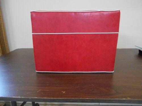 ANTIQUE VINTAGE RED VINYL FOOT STOOL - OTTOMAN
